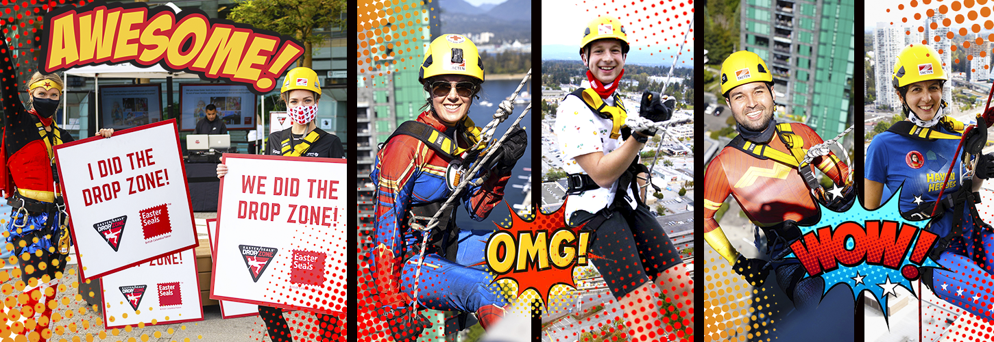 Composite image of several people dressed in superhero costumes, smiling, some wearing mask, wearing helmets and rapelling off the side of buildings. The images are designed to look like a superhero comic book with expression bursts like wow, awesome and OMG.